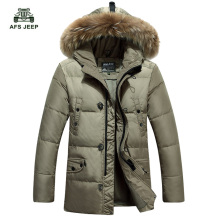 Free shipping Thicken Men's Down Jacket   Leisure Winter Fashion White Duck Down Coat  Fur Trench Hood Parkas 120hfx