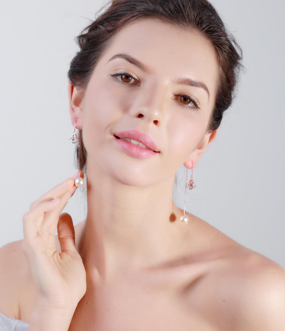 Effie Queen Fashion Cute Ear Wire Earrings Female Models Long Drop Crystal Imitation Pearl Jewelry Dangle Earrings Brincos DDE26 21