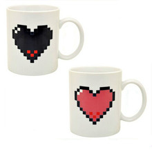 Heat Pixel Magic Color Changing Cup Heat Sensitive Mug  Handgrip Coffee Cup Temperature Changing Valentine's Love Gift Magic Cup
