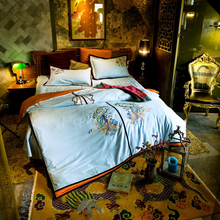 Svetanya Phoenix Embroidered Luxury Bedding Sets Queen King Size Bedclothes 100% Cotton Brand Duvet Cover Set