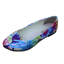 Fashion Floral Print Satin Cloth Flats For Women Shallow Mouth Slip-on Ballet Flats Ladies Casual Flower Flat Shoes Ballerinas