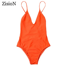 ZisioN One Piece Swimsuit Women Vintage Bathing Suits 2017 Sexy Swimwear One piece Beach Swimwear No Padded V Neck Swim Wear(China)