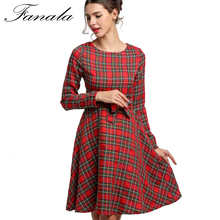 Autumn Plaid Dress Retro Clothes Store Women Dresses 2017 Plaid Belted O-neck Long Sleeve High Waist A-line Dress(China)