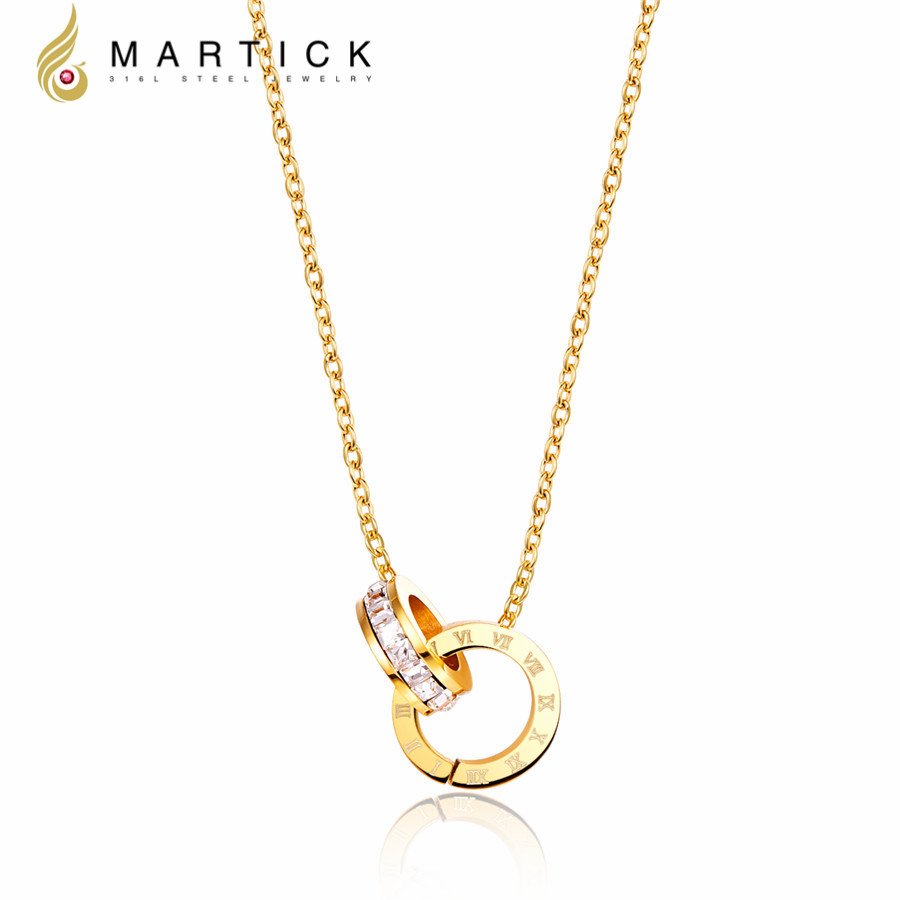 Martick Top Quality Stainless Steel Gold-color Brand Pendant Necklace Double Loop AAA CZ Roman Numerals Necklace For Young Girl(China (Mainland))