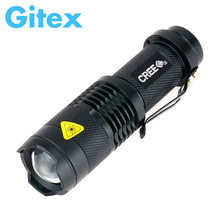 High Quality Mini LED Flashlight CREE 2300LM Waterproof Q5 LED Flashlight 3 Modes Zoomable LED Torch   Adjustable Penlight