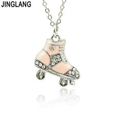 JINGLANG Brand New Fashion Metal Rhinestone Roller Skates Charm Pendants Necklace For Children Jewelry Gift(China)