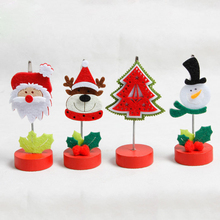 4Pcs Creative Xmas Desktop Decoration 4cm Wood Made Christmas Ornaments Drawing Xmas Home Office Tabletop Decorations JJ033(China)