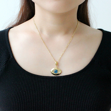 Turkish Evil Blue Eye Necklace Pendant Copper 18K Gold Charm Muslim Arabric  Kabblah Woman Man Jewelry Protector