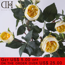 DH 5 heads Artificial white ramose roses flowers for home decoration accessories wedding Bouquet artificial flower arrangement