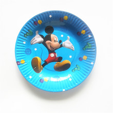 10pcs Cartoon Mickey paper plates Disposable Cake Barbecue dishes Birthday Party Wedding Christmas tray plate(China)