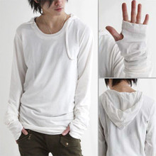 T-shirt male casual O neck tops tees shirts hooded tshirt autumn men fashion personality long sleeve gloves(China)