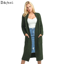 D&feel 2017 Winter Long Cardigans Sweater Women Big pocket Loose kimono cardigan knitted jumpe Thicker Warm Sweater Coat Price(China)
