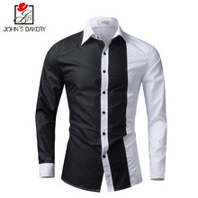 Men Shirt Long Sleeve 2017 Brand Shirts Men Casual Male Slim Fit Fashion Spell Color Chemise Mens Camisas Dress Shirts 4XL WEYOR