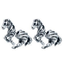 QIMING Realistic Zebra Horse Stud Animal Studs Two parts earrings for Men women Lovers Nice Earrings Famous Brand Jewelr