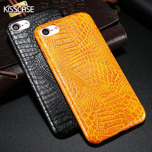 KISSCASE Phone Case For iPhone 7 7 Plus Luxury Matte Crocodile Slim Leather Cover For Apple iPhone 7 Plus Luxury Black Brown Bag