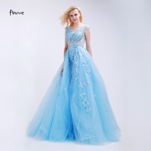 Finove Light Blue Prom Dresses See-Through Tulle with Appliques and Beading 2016 New Sexy Backless Long Party Gowns for Girls(China)