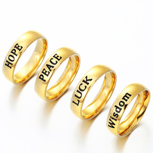 "Inspired Charms Letters Stainless Steel Rings ""Hope Peace Luck Love Free Belief Courage Wisdom"" Gold Color for Women Men Couple"
