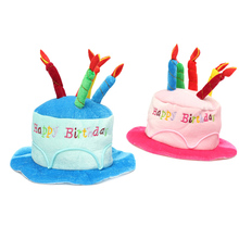 Birthday Cake Candle Hat Short Plush Children Adult 2 Colors Party Amusement Park Supplies Performing Dress Props Dog Cap
