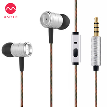OARIE Stereo Metal Earphones with Microphone Good Voice Earbuds In Ear 3.5MM Headset Light headphone HighQuality Design Earphone