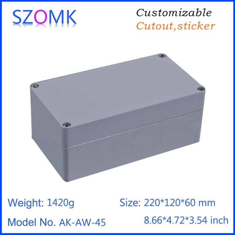 1 piece, 220*120*60mm die cast aluminum waterproof box IP66 electronics amplifier enclosure project box szomk housing case<br>