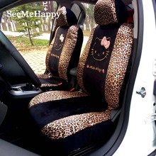 Universal Hello Kitty Car seat Covers Leopard Cartoon car Styling interior accessories-Only for 2 front seat covers