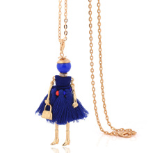 french doll vintage necklace dress tassel long necklace women blue chains pendant girl fashion jewelry cute ladies big choker(China)