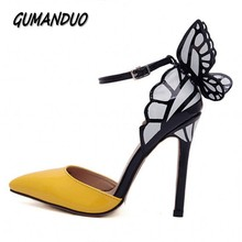 GUMANDUO New spring summer fashion star classics dream Butterfly women pumps lady buckle  high heels sandals shoes woman