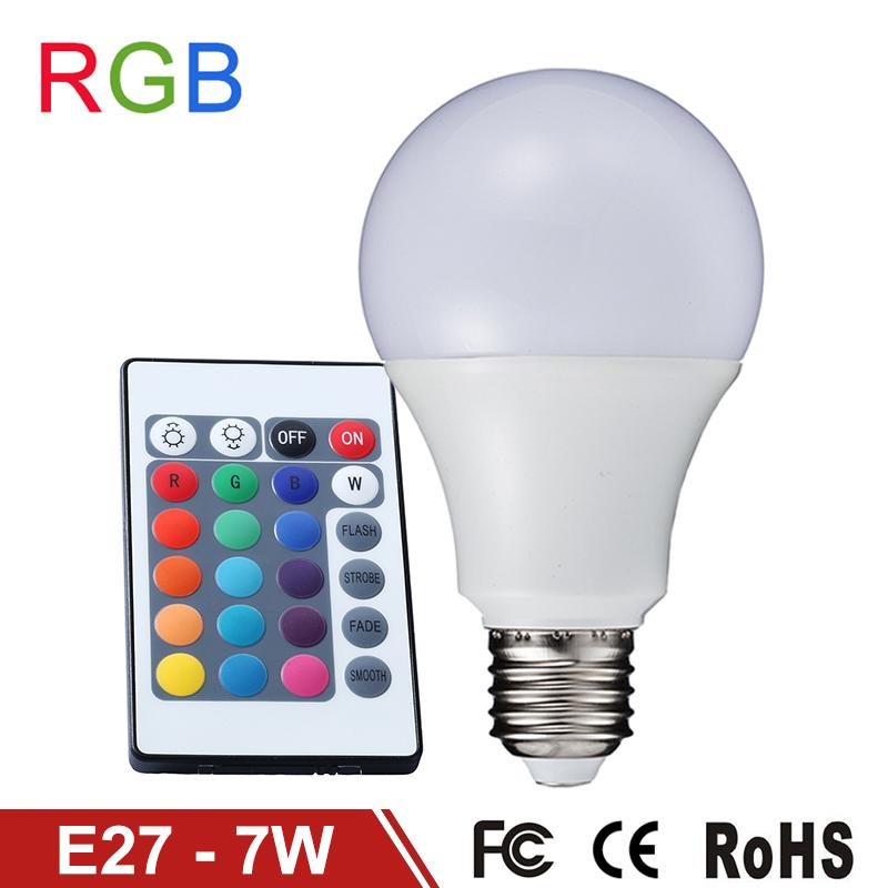 RGB LED Bulb 7W E27 LED RGB Lamp 110V 220V LED Bulb SMD5050 Home/Party Decoration Lighting IR Remote Controller 16 Colors Change<br><br>Aliexpress