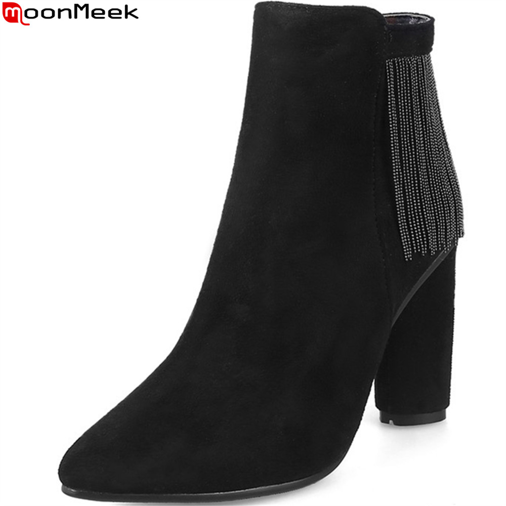 MoonMeek fashion black pink women boots flock pointed toe ladies boots zipper chain autumn winter ankle boots plus size 33-45<br>