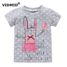 VIDMID 2-10 years baby Girl t-shirt big Girls tees shirts children blouse big sale super quality 100% cotton kids summer clothes(China)