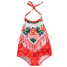2017 Newborn Baby Girl Romper Floral Tassel Clothes Summer Backless Little Princess Rose Sunsuit Toddler Kids Jumpsuit 0-24M