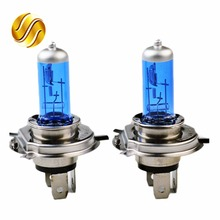 flytop 2 PCS 12V 60/55W H4 Halogen Lamp 5000K Car Halogen Bulb Xenon Dark Blue Glass Super White(China)