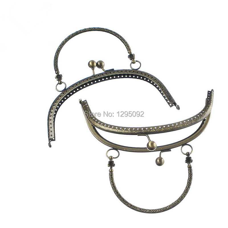 10Pcs Bronze Tone Flower Arch Frame Kiss Clasp Lock With Handle For Purse Bag Handbag Handle Findings 16.5x9.5cm