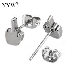 YYW Punk Cool Boy Steel Black Stainless Steel Ear Jewelry Studs Earring Women Man Cute Small Lovely Finger Hand Studs Earrings(China)