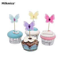 New 12pcs Butterfly Party Cupcake Toppers Picks Decorations For Kids Birthday Party Baby Shower Diamond Cake Decoration Supplies(China)