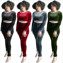 2017 Autumn Winter Velour Tracksuit For Women Pleuche Two Piece Set Striped Pants Sets Casual Outfits Plus Size Clothing Velvet(China)