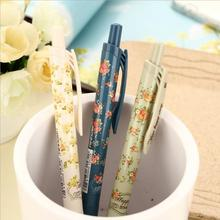 1PCS New Cute Cartoon Vintage Flower Ballpoint Ball Pens Plastic Kawaii Stationery Creative Gifts 03608
