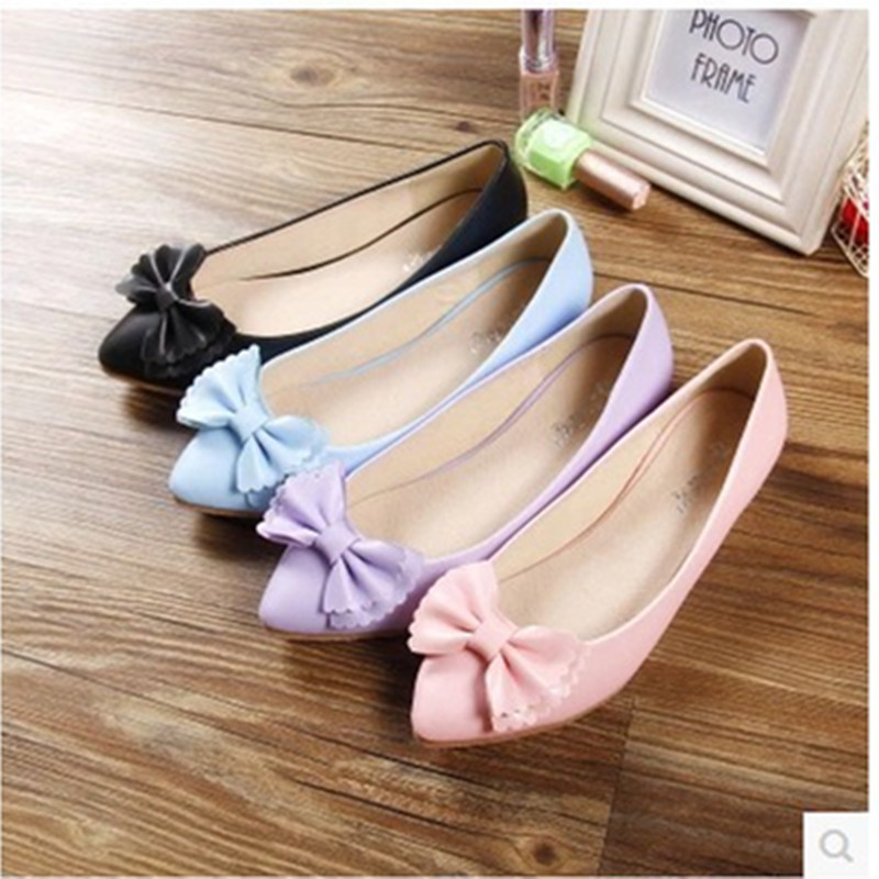 Ladies Bowtie sweet comfortable big size(4 ot 12) leisure pointed toe flattie thin shoes dancing shoes in spring summer 4colors<br><br>Aliexpress