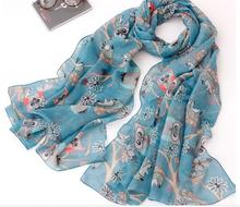 120pcs/lot 2015 new fashion cotton cute owl tree print scarf shawl pashmina/owl scarf