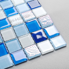 express shipping free!! blue crystal glass mosaic tiles 23x23mm,4mm thickness swimming pool mosaic bathroom wall and floor tiles(China)
