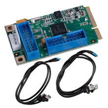 NEW Mini PCI-E PCI Express to 4 USB 3.0 Ports Adapter Card ITX to Dual 20Pin Cable #D(China)