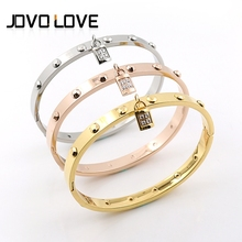 Hot Sale Fashion Luxury Stainless Steel Bangles Rose Gold Bracelets with Screw for Women Men Couple Classic Style CZ Stone Lock
