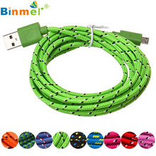 Factory Price Binmer Hot Selling 2M Hemp Rope Micro USB Charger Sync Data Cable Cord for Cell Phone Drop Shipping Good Quality