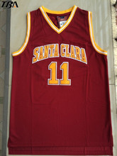 2017 TBA Wholesale Cheap College Basketball Jerseys #11 Steve Nash Jersey Santa Clara Throwback Stitched Burgundy Red Mens Shirt