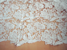 White Crocheted Lace Fabric , QMilch Retro Florals Fashion Fabrics Supplies,Wedding Lace Fbaric(China)