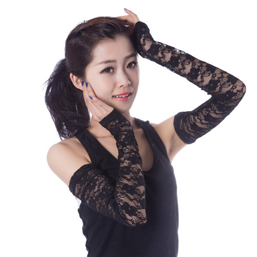 Summer UV sunscreen Gloves Long Sleeve lace cuff modal cotton Fingerless female thin arm sleeve hole<br>