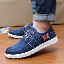 2017 Spring Autumn Men's UK Flag Pattern Casual Shoes Man Lace-Up Rubber Handsome Denim Shoes Men Breathable Flats Shoes Zapatos