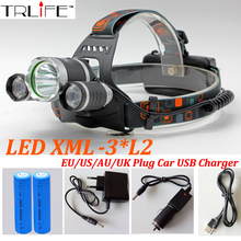 Headlight 12000 Lumens 3x CREE XM-L2 LED High Power Head light Headlamp Lamp +2*18650 Battery +Charger +Car Charger +USB(China)