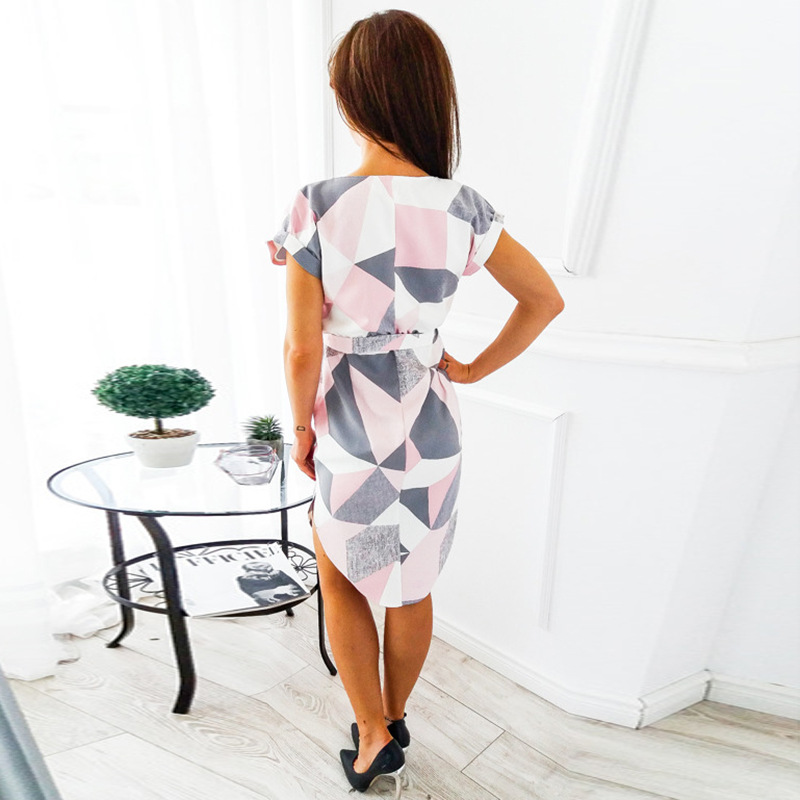 2018 Summer Dress Women Print V Neck Short Sleeve Robe Female Dresses Casual Sashes Midi Dress Ladies Elegant Vestidos Dropship 47