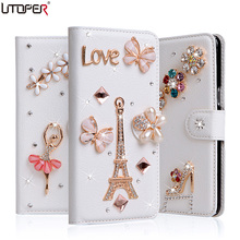"For BlackBerry Keyone Luxury Wallet Stand Flip PU Leather Diamond Case For Mercury DTEK70 4.5"" Shockproof Bling Cover Phone Bag(China)"